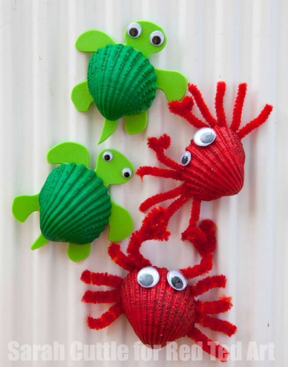 Seashell craft ideas Seashell Turtles and Crab Fridge Magnets
