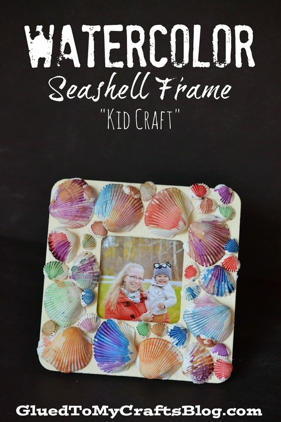 Seashell craft ideas Watercolor Seashell Frame