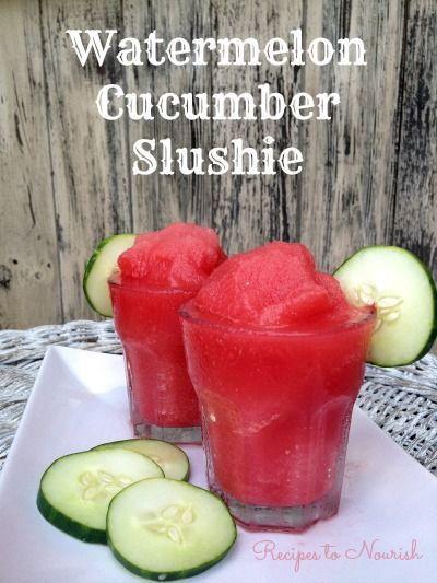 Watermelon cucumber slushie smoothie