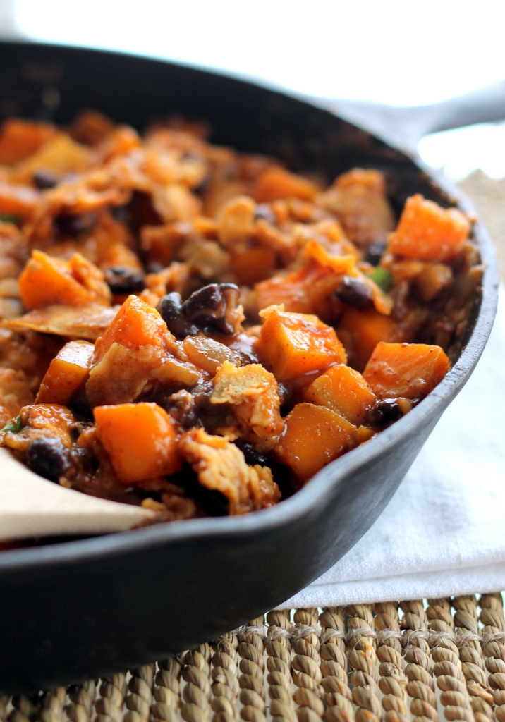 butternut-squash-and-black-bean-enchilada-skillet