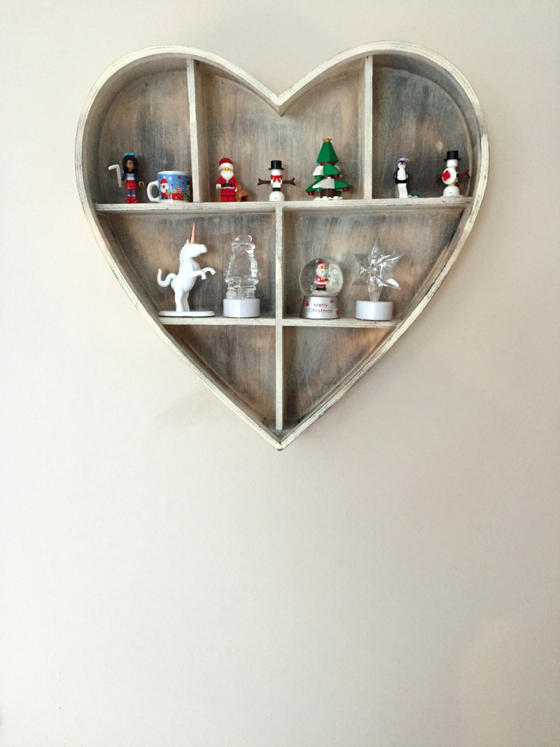 Rustic wooden heart shaped shelf