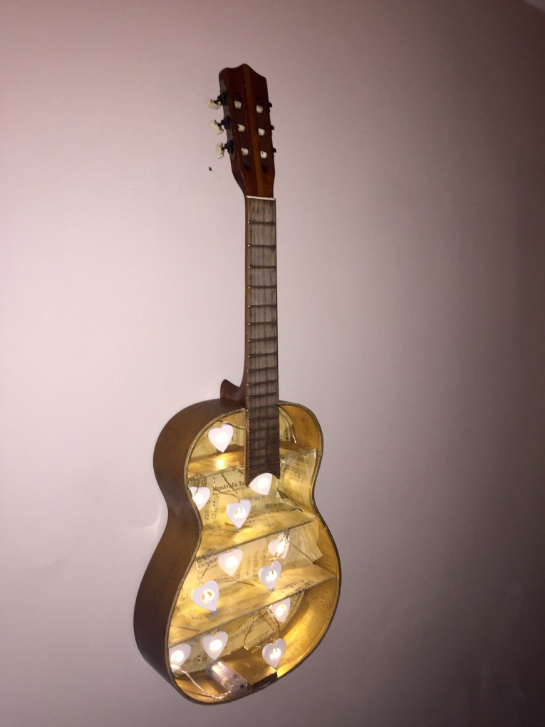How to make a Guitar Shelf - Finished Product with LED lights