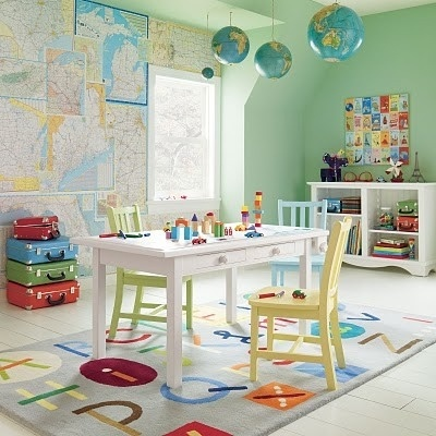 15 Cool Kids Room Ideas - Wall of maps inspired decor